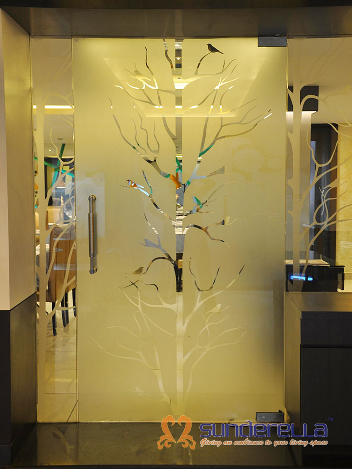 Glass Frost Film for restaurant Doors and glass partitions